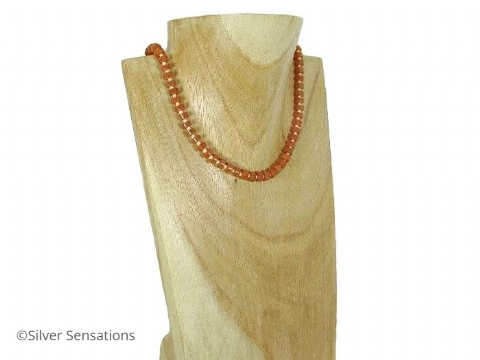 Orange Red Aventurine Heishi & Peach Beads Sterling Silver Necklace